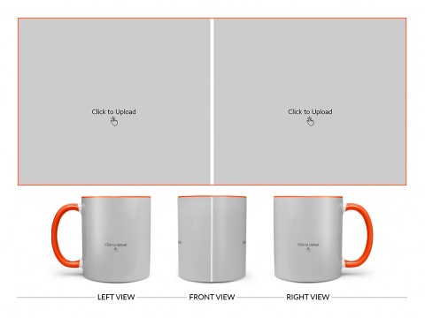 2 Large Pic Upload Design For Any Occasions & Event Design On Dual Tone Orange Mug