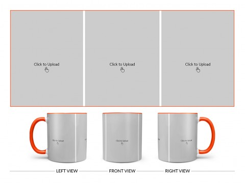 3 Equal Pic Upload Design For Any Occasions & Event Design On Dual Tone Orange Mug