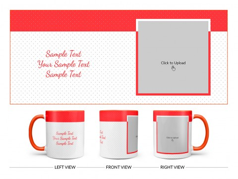 Dotted Pattern Background With Red border Design On Dual Tone Orange Mug