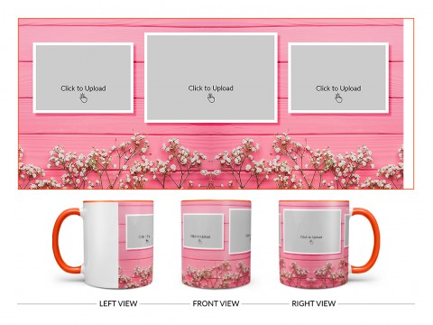Wooden Wall With Small Flowers 3 Pic Upload Design On Dual Tone Orange Mug