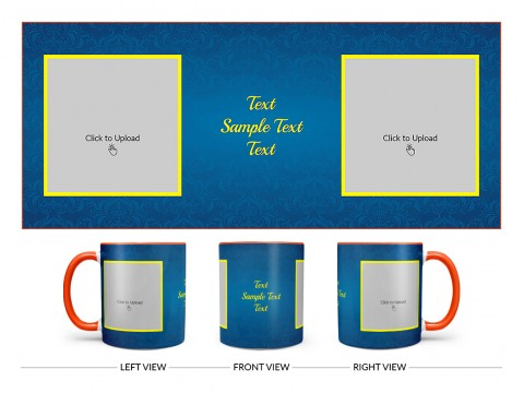 Dark Blue Flower Pattern Background With Yellow border Design On Dual Tone Orange Mug