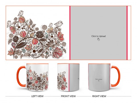 Artisic Design On Dual Tone Orange Mug