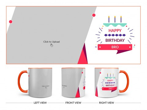 Brother's Birthday With White Background Design On Dual Tone Orange Mug