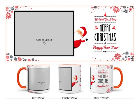 We Wish You A Very Merry Christmas Design On Dual Tone Orange Mug