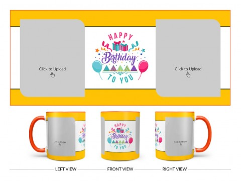 Daughter Birthday With Yellow Borders Design On Dual Tone Orange Mug