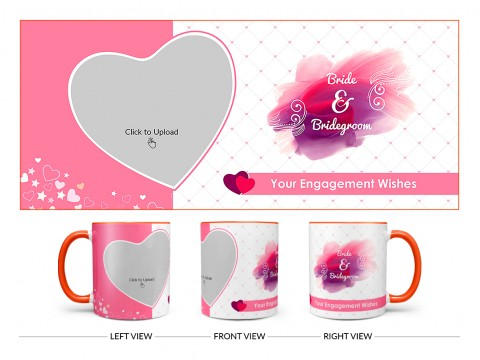 Bride & Bridegroom With Love Shape Pic Upload Design On Dual Tone Orange Mug
