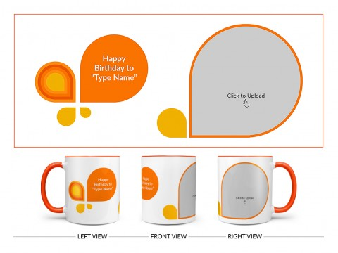 Happy Birthday Design On Dual Tone Orange Mug
