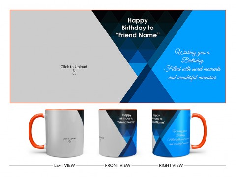 Wishing You A Birthday Filled With Sweet Moments Quote Design On Dual Tone Orange Mug