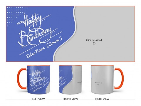 Blue Wave Design With Happy Birthday Text Design On Dual Tone Orange Mug