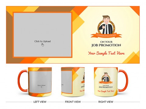 Congratulations For Your Job Promotion Design On Dual Tone Orange Mug