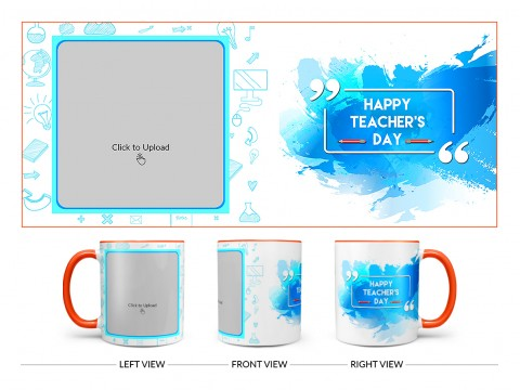 Happy Teacher's Day Design On Dual Tone Orange Mug