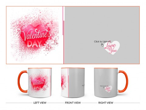 Happy Valentine's Day Design On Dual Tone Orange Mug