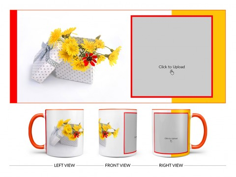 Yellow Color Flowers in Basket Design On Dual Tone Orange Mug