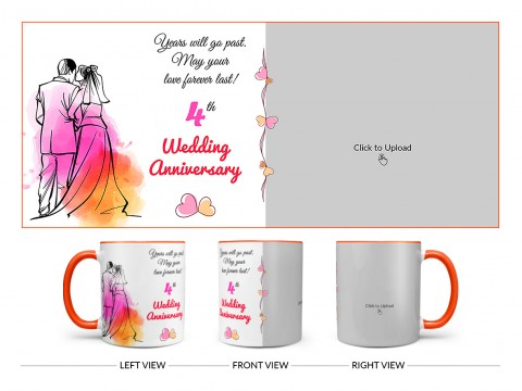 Wedding Anniversary Design On Dual Tone Orange Mug