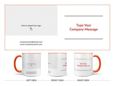 Company Mug With Custom Message Design On Dual Tone Orange Mug