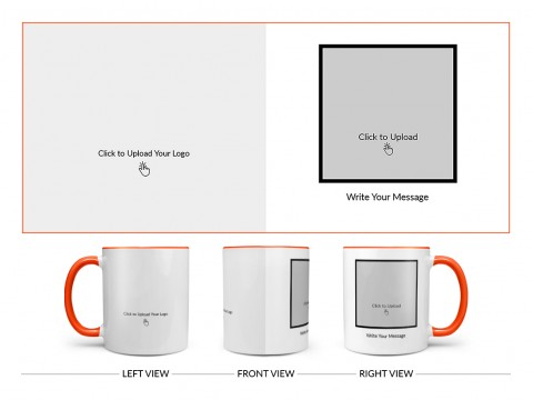 Company Mug With Photo Design On Dual Tone Orange Mug