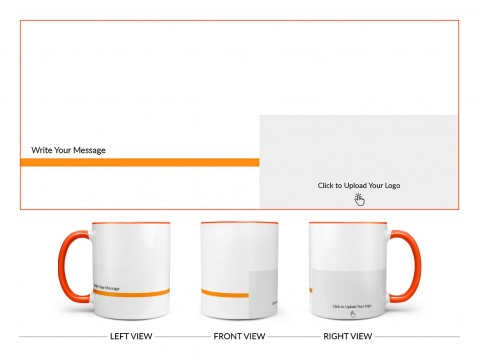 Corporate Mug With Company Message Design On Dual Tone Orange Mug