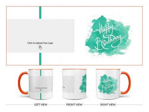 Corporate Mug With Birthday Message Design On Dual Tone Orange Mug