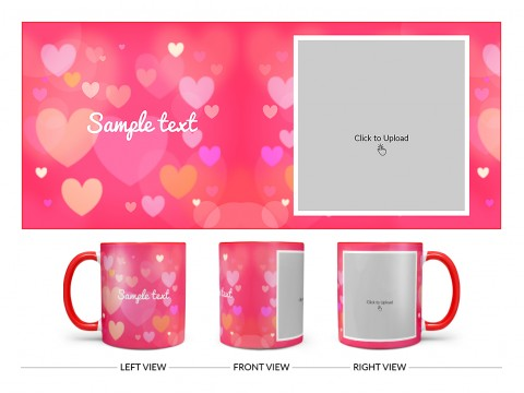 Heart Symbols With Dark Pink Background Design On Dual Tone Red Mug