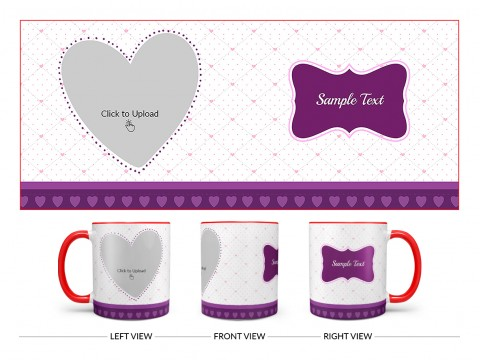 Love Symbol Pic Upload With Dotted border Design On Dual Tone Red Mug