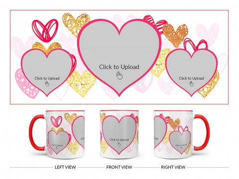 3 Heart Symbols Pic Upload With Golden Love Symbols Background Design On Dual Tone Red Mug