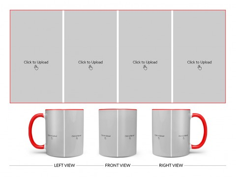 4 Vertical Pic Upload Design For Any Occasions & Event Design On Dual Tone Red Mug