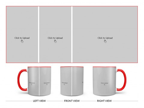 3 Pic Upload Design For Any Occasions & Event Design On Dual Tone Red Mug