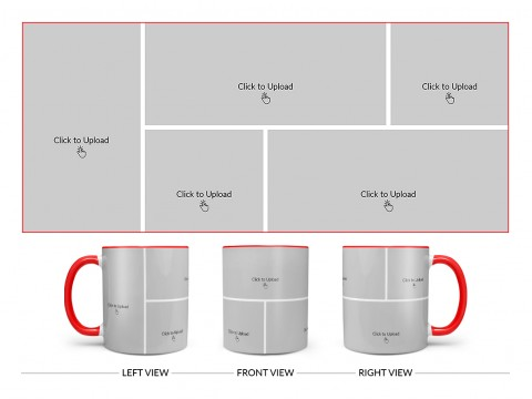 5 Pic Upload Design For Any Occasions & Event Design On Dual Tone Red Mug