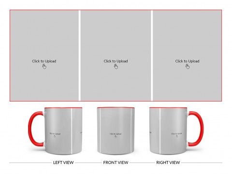 3 Equal Pic Upload Design For Any Occasions & Event Design On Dual Tone Red Mug