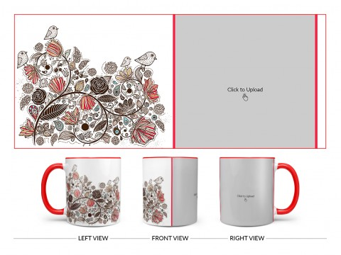 Artisic Design On Dual Tone Red Mug