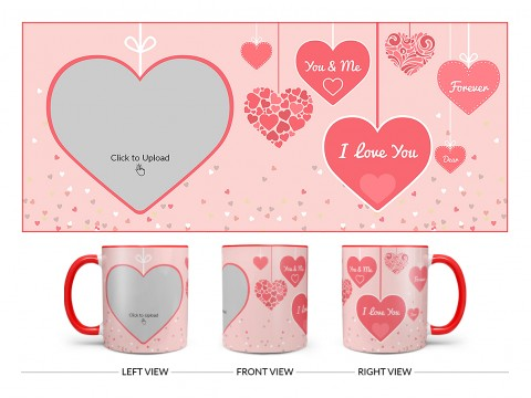 Your & Me Forever Design On Dual Tone Red Mug
