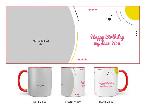 Happy Birthday My Dear Sister Design On Dual Tone Red Mug