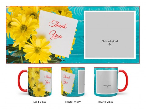 Thank You Design On Dual Tone Red Mug