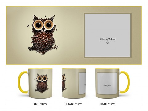 Coffee Beans For Coffee Lovers Design On Dual Tone Yellow Mug