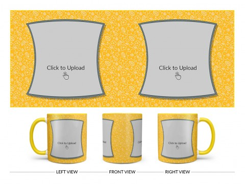Yellow Colour Background With Flower Pattern Design On Dual Tone Yellow Mug