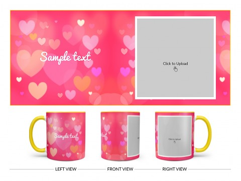Heart Symbols With Dark Pink Background Design On Dual Tone Yellow Mug