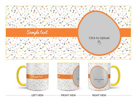 Multiple Arrows Pattern Background With Oval Shape Pic Upload Design On Dual Tone Yellow Mug