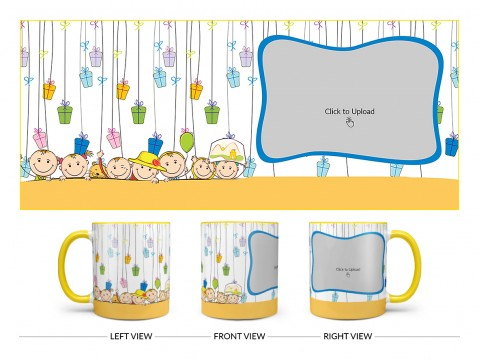 Multiple Kids Behind The Wall And Gifts Pattern Background Design On Dual Tone Yellow Mug
