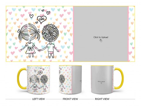 Young Couple Starting Journey For Love / Life Design On Dual Tone Yellow Mug