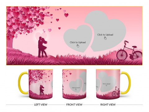Young Couple In Love World Design On Dual Tone Yellow Mug