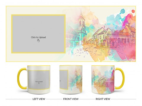 Artistic City Painting Background Design On Dual Tone Yellow Mug