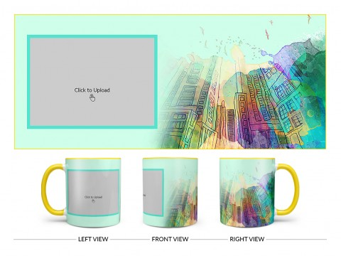 Artistic Building Painting Background Design On Dual Tone Yellow Mug