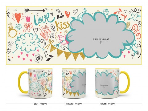 Love, Ring, Kiss, Me & Etc. Pattern Background With Flower Shape Pic Upload Design On Dual Tone Yellow Mug