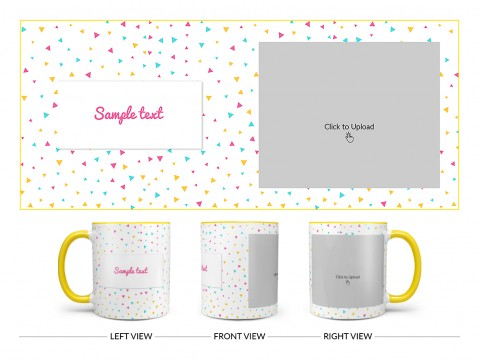Colourful Triangles Pattern Background Design On Dual Tone Yellow Mug