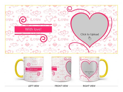 Love Pattern Background With Pink Heart Design On Dual Tone Yellow Mug