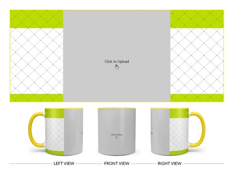 Green borders With Dotted Line Background Design On Dual Tone Yellow Mug