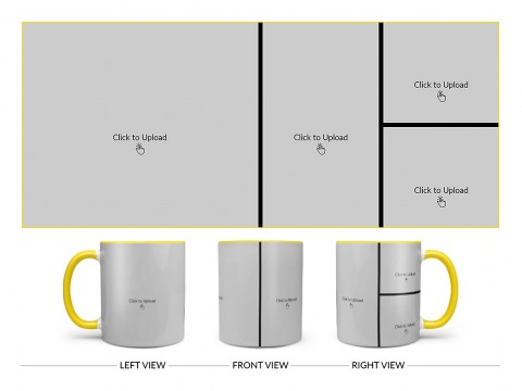 4 Pic Upload Upload Design For Multiple Occasions Design On Dual Tone Yellow Mug