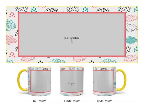 Clouds And Rain Drops Background With Large Single Pic Upload Design On Dual Tone Yellow Mug