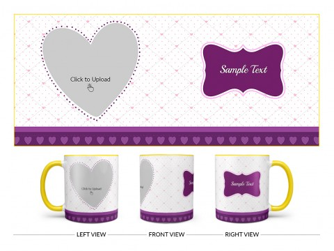 Love Symbol Pic Upload With Dotted border Design On Dual Tone Yellow Mug
