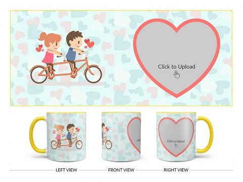 Couple Cycling In Love Symbol Pattern Background Design On Dual Tone Yellow Mug
